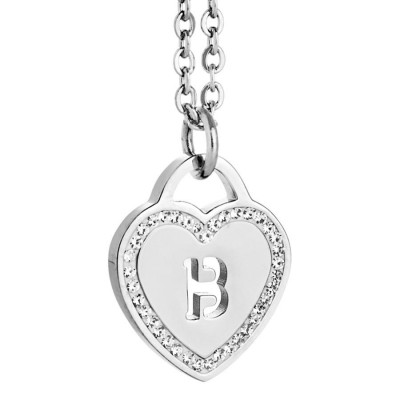 Rhodium plated necklace with heart and letter B perforated