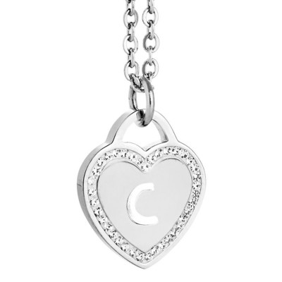 Rhodium plated necklace with heart and letter C perforated