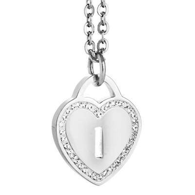 Rhodium plated necklace with heart and letter the perforated