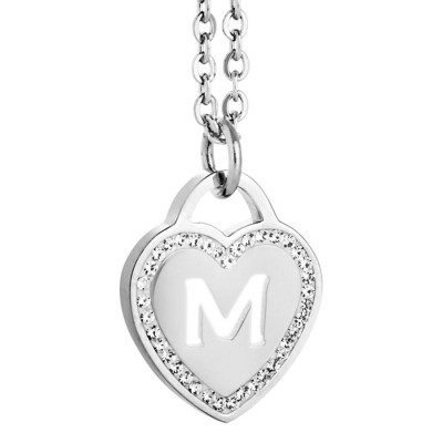 Rhodium plated necklace with heart and letter M perforated