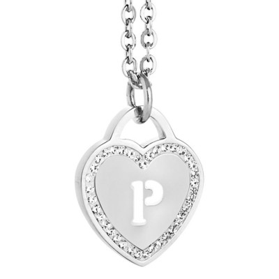 Rhodium plated necklace with heart and letter P perforated
