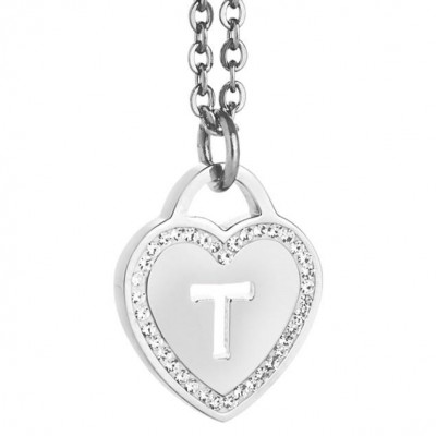 Rhodium plated necklace with heart and letter T perforated