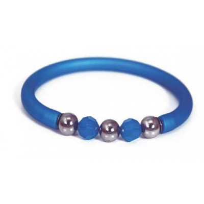 Bracciale in gomma blu con Swarovski e boules in acciaio