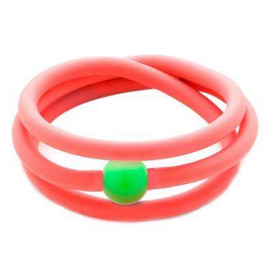Bracciale fucsia fluo in gomma e perla Swarovski verde