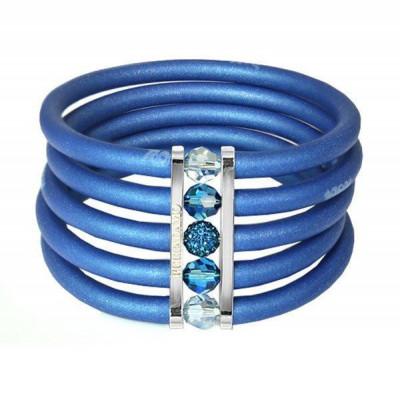 Blue rubber bracelet, rhodium plated bronze and Swarovski crystals