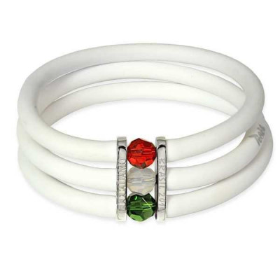 Bracelet in white rubber closure with tricolor Swarovski