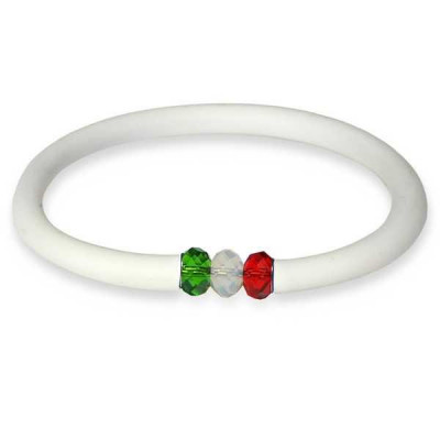 Bracelet in white rubber closure with Swarovski tricolor