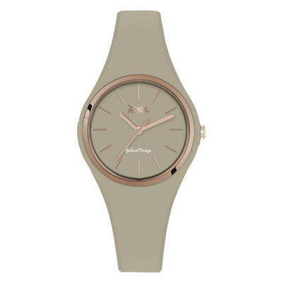 Watch lady in silicone anallergic taupe and pink ring