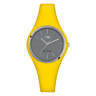 Watch lady in anallergic silicone yellow and silver ring