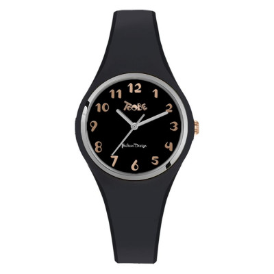 Watch lady in anallergic silicone black, silver ring and indexes rosati