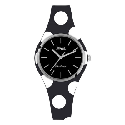 Watch lady in anallergic silicone black with white polka dots