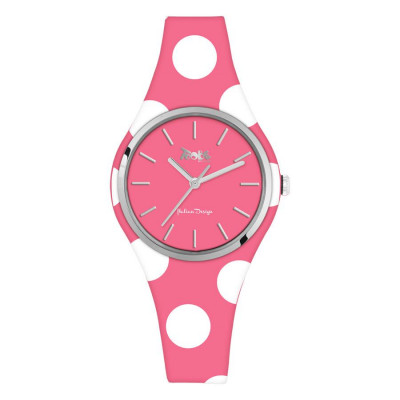 Watch lady in silicone anallergic fuchsia with white polka dots