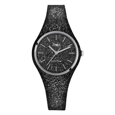 Watch lady of silicone and quadrant glitterato black