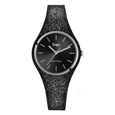 Orologio donna in silicone nero glitterato e quadrante nero