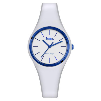 Clock in hypoallergenic silicone white with blue ring