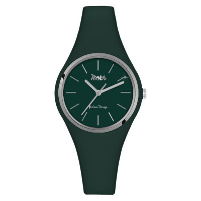 Clock in hypoallergenic silicone dark green with silver ring