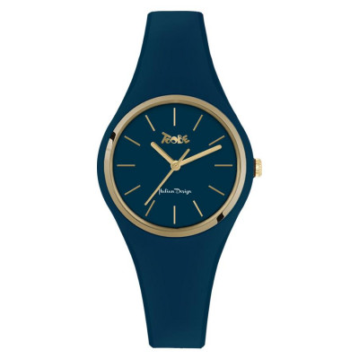Clock in hypoallergenic silicone oil blue with golden ring