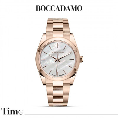 Rose gold watch with mother of pearl dial