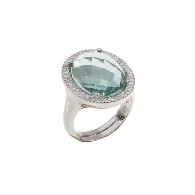 Ring cocktail with briolette crystal water green and zircons