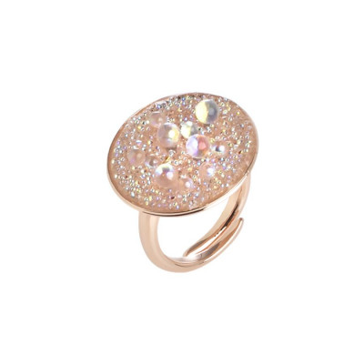 ffebd1b30 Adjustable ring light pink with surface in Swarovski Crystal Rock ...