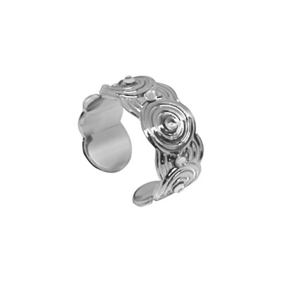 Band ring rodiatos with concentric decorations and Swarovski