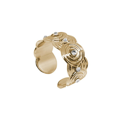 Band Ring Gold Plated yellow with concentric decorations and Swarovski