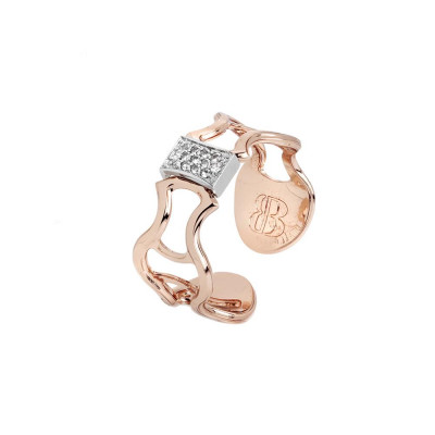 Plated ring pink gold with textures in low relief and node with zircons