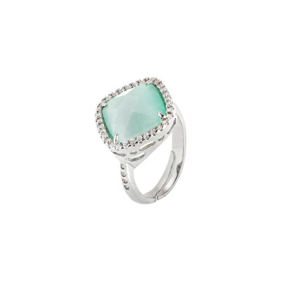 Ring with crystal briolette green mint and zircons