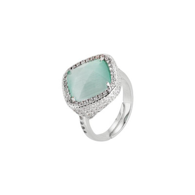 Ring with crystal briolette green mint and pavèdi zircons