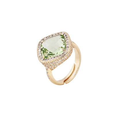 Ring with crystal chrysolite briolette pavèdi and zircons