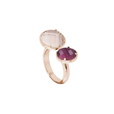 Open Ring with crystal amethyst and peach