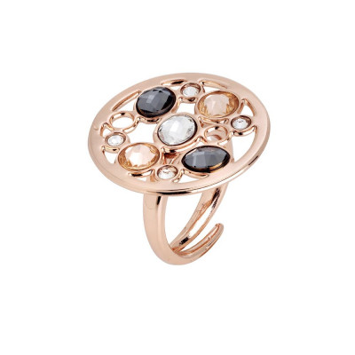 Ring circular base with Swarovski crystal, peach, silver night