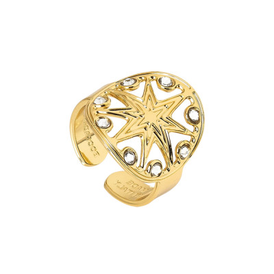 Yellow gold plated ring with wind rose and Swarovski