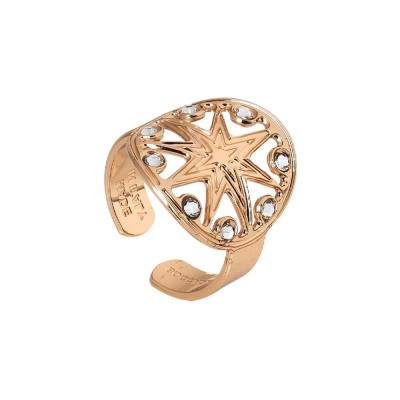 Rose gold plated ring with wind rose and Swarovski