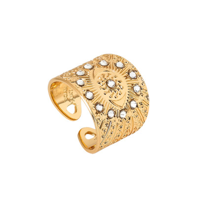 Flower of life ring yellow gold plated and Swarovski