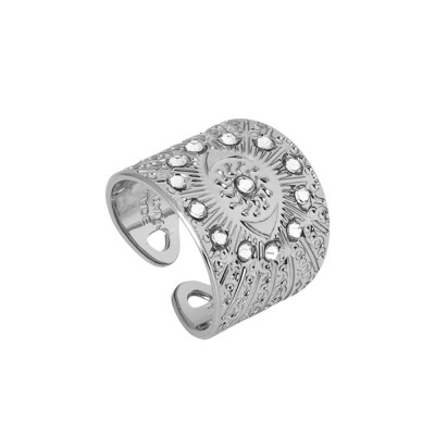 Rhodium banded Swarovski flower of life ring