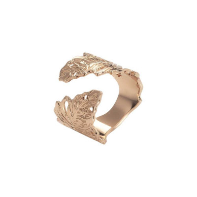Rose gold plated band ring with oak leaf