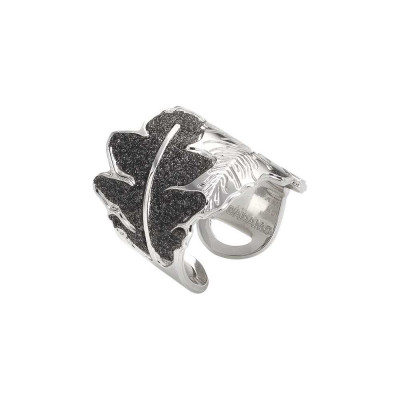 Rhodium-plated ring with band decoration