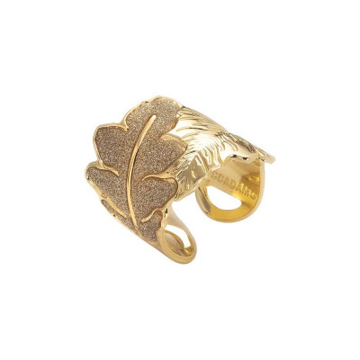 Yellow gold plated ring with band decoration