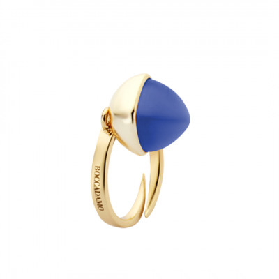 Yellow gold plated ring with tanzanite colored crystal
