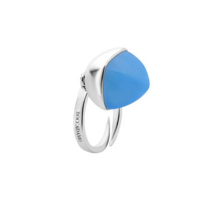 Ring with chalcedony crystal pendant