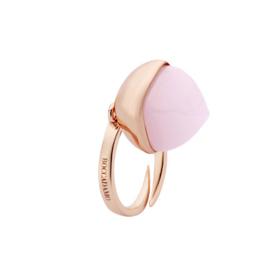 Rose gold plated ring with rose quartz pendant crystal