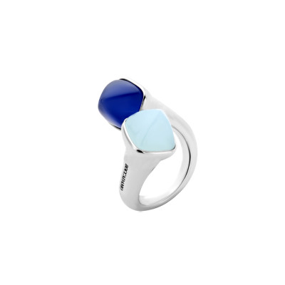 Contrari ring with aquamarine and tanzanite crystals