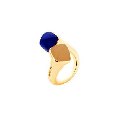 Contrari ring with carnelian and tanzanite crystals