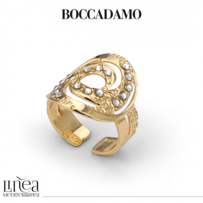 Yellow gold plated band ring with decoration and Swarovski