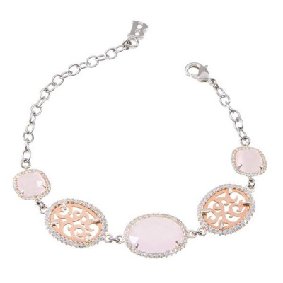 Bracelet with decorations arabesques, zircons and crystals briolette pink