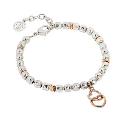 Bracelet beads with two hearts rosati