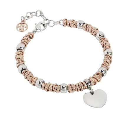 Bracelet bicolor with heart rodiatos