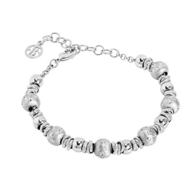 Bracelet with rhodium-plated balls and setate