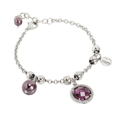 Bracelet with Swarovski beads Burgundians and crystal amethyst